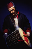Musician With Fez And Tapan Drum Royalty Free Stock Image