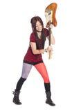 Musician girl electric guitar breaks Stock Images