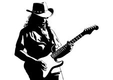 Blues guitar man two. Musician with guirar in blues style on white background Stock Photos
