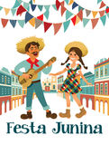 Musician with a guitar and girl. Brazilian holiday Festa Junina. June party. Stock Photo