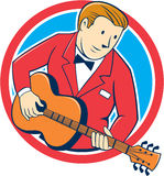 Musician Guitarist Playing Guitar Circle Cartoon. Illustration of a musician guitarist playing guitar set inside circle on isolated background done in cartoon Royalty Free Stock Photo