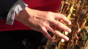 Musician hand playing the saxophone stock video