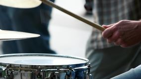Musician hands playing with drum sticks. stock video