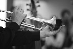 Musician hands playing the trumpet Royalty Free Stock Images