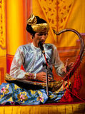 Musician with Harp, Myanmar Royalty Free Stock Photo