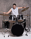 Musician with his drum set Royalty Free Stock Photo