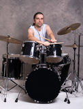 Musician with his drum set Royalty Free Stock Photos