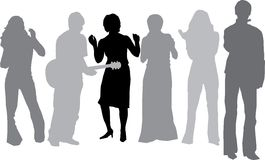 Musician and his friends dancing (Vector). Silhouettes of Musician with guitar and his friends dancing (vector Royalty Free Stock Photography