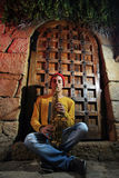 Musician with his saxophone Stock Photo