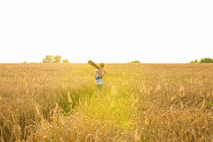Musician holding acoustic guitar and walking in summer fields at sunset. Stock Images