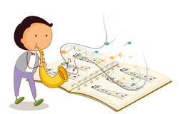A musician holding a trumpet with a musical notebook Stock Photos