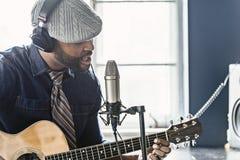 Musician Home Recording Stock Photo