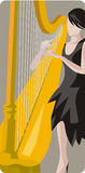 Musician illustration series. Vector illustration of a female harp player. EPS file available Royalty Free Stock Photography