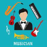 Musician and instruments flat icons Royalty Free Stock Images