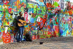 Musician At John Lennon Wall Stock Photography