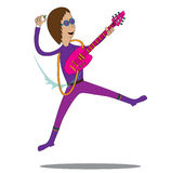 Musician - Jumping Rocker. A rocker jumping while playing his guitar Royalty Free Stock Photo
