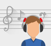 Musician listening melody. Icon vector illustration graphic design Royalty Free Stock Photography