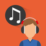 Musician listening melody. Icon vector illustration graphic design Royalty Free Stock Image