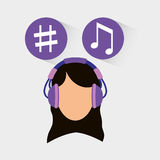 Musician listening melody. Icon vector illustration graphic design Stock Photos