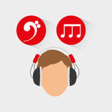 Musician listening melody. Icon vector illustration graphic design Stock Image