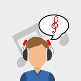 Musician listening melody. Icon vector illustration graphic design Stock Photography