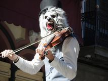 Musician with mask playing violin royalty free stock photo