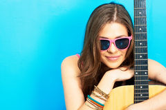 Musician model girl portrait. Royalty Free Stock Images
