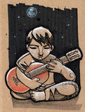 Musician in the night. Hand drawn illustration or drawing of a musician playing guitar on starry night Royalty Free Stock Photos
