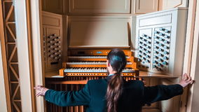 Musician Open The Organ stock footage