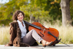 Musician outdoors, portrait Royalty Free Stock Photography