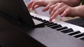 Musician play on clavier stock footage