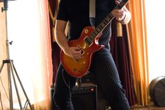 Musician play on guitar #3 Royalty Free Stock Photo