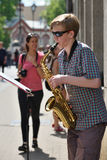 Musician play Saxophone in Street Music Day Royalty Free Stock Photos
