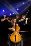 Musician play violin on dark Royalty Free Stock Photo