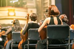 Musician play violin. Female violinist playing the violin stringst on the concert stage. Closeup.  Royalty Free Stock Images