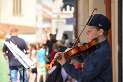 Musician play violin in Street Music Day. Unidentified musician play violin in Street Music Day on May 20, 2017 in Vilnius. Its a most popular event on May in Stock Photos