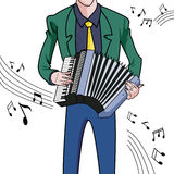 Musician. A musician playing an accordion on a white background.Vector image stock illustration