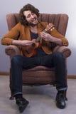 Musician Playing Acoustic Ukulele Royalty Free Stock Photos
