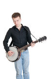 Musician playing on a banjo Royalty Free Stock Photography
