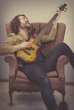Musician Playing Bass Guitar Royalty Free Stock Image