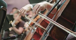 Musician playing cello during a classical music rehearsal before a concert. Musician playing cello during a classical music rehearsal before an important concert stock video