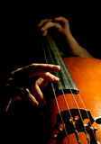 Musician playing contrabass. On black background Royalty Free Stock Photo