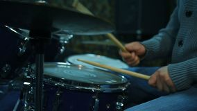 Musician Playing Drum Set. In Studio. Close Up