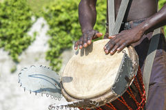 Musician playing drum Royalty Free Stock Images