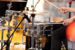 Musician playing the drums at the concert Royalty Free Stock Photography