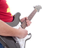 Musician playing an electric guitar stock image