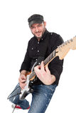 Musician playing electric guitar with enthusiasm. Isolated on white Stock Image