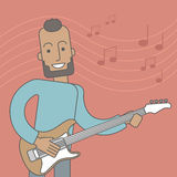Musician playing electric guitar Royalty Free Stock Photos