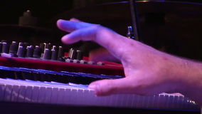 Musician playing on electronic keyboard stock footage
