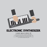 Musician Playing Electronic Synthesizer Flat Design Royalty Free Stock Images